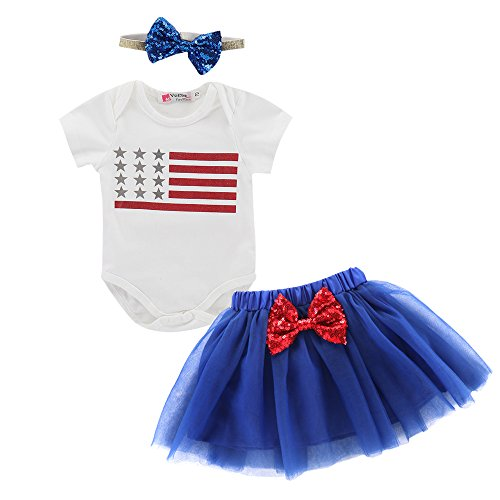 Toddler Baby Girls 4th of July Independence Day T-Shirt Top + Tutu Skirt Set Outfits with Headband (White, 12-18 Months(90))