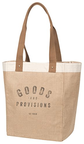 Now Designs Burlap Market Tote, Goods and Provisions]()