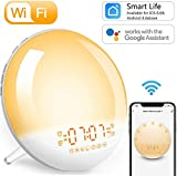 Smart Wi-Fi Wake-Up Light Alarm Clock - Sunrise/Sunset Simulation Bedside Table Night Light, APP/Voice Control, FM Radio, 4 Alarms, Snooze Function, 7 Colours/Natural Sounds, 20 Brightness Level