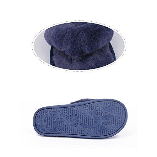 QPLUS Q-Plus Womens Home Warm Fur Slippers Non-Slip Shoes Autumn/Winter Flip Flop Gray aCXzU48gM