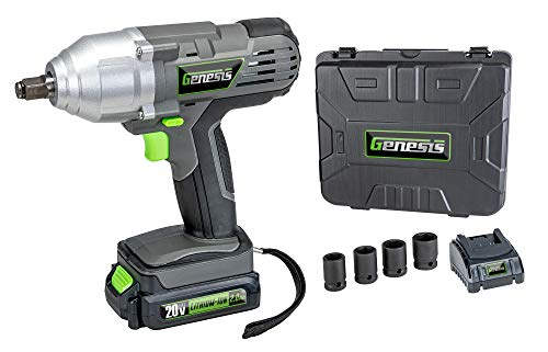 Genesis GLIW20AK 20V Lithium-Ion Impact Wrench Kit with Built-in LED Work Light and Removeable Lithium-Ion Battery, 1-hour quick charger, 4-Piece Socket Set, and Storage Case