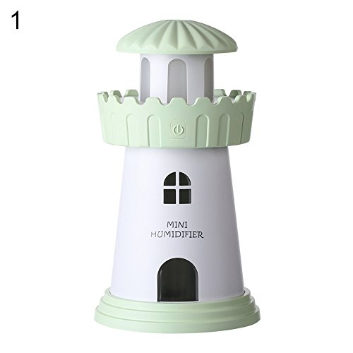 dezirZJjx Essential Oil Diffuser Portable Mini USB Home Office Lighthouse Air Humidifier Purifier Night Light - Green for Bedroom Living Room Study Yoga Spa