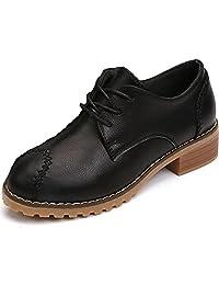 DADAWEN Women's Students' British Style Retro Fashion Mid Heel Carving Brogue Shoes