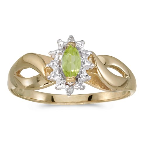 0.21 Carat (ctw) 14k Yellow Gold Marquise Green Peridot and Diamond Solitaire Diamond Infinity Halo Promise Engagement Ring (6 x 3 MM) - Size 5.5 Marquise Diamond Semi Mount Ring