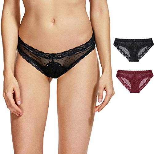 DOBREVA Women's Lace Dot Low Rise Hipster Panties with Half Coverage 2 Pack Black/Dark Red_Lace Dot M (Dot Low Rise Panty)