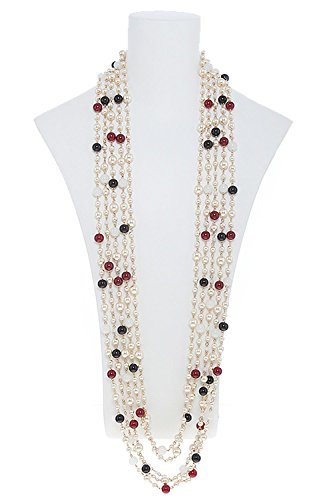 TRENDY FASHION JEWELRY FAUX PEARL BEADED MULTI STRAND NECKLACE SET BY FASHION DESTINATION - Faux Pearl Illusion Necklace Earrings