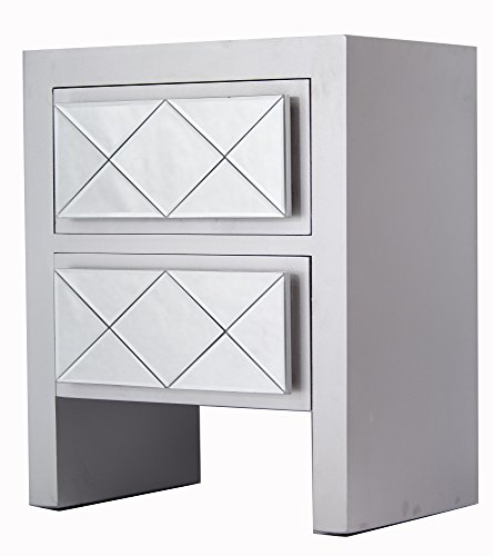 Heather Ann Creations Kayla Collection Modern Accent Cabinet With Two Drawers and Decorative Mirrored Finish Design, Silver