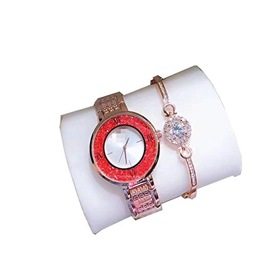 (L.HPT Women's Watch, Girls Rose Gold Watch Two-Piece Beaded Glass Watch Bracelet Steel Band Quartz Women's Watch,redandwhiteplate)