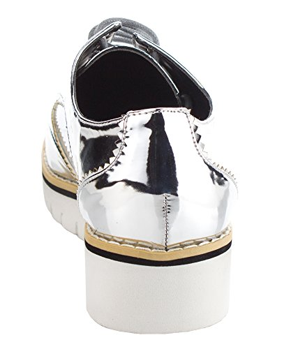 Cape Platform Lace Leather Women's Oxford Silver Sneakers Metallic Fashion Patent Up Robbin Shoes 8Oqr8