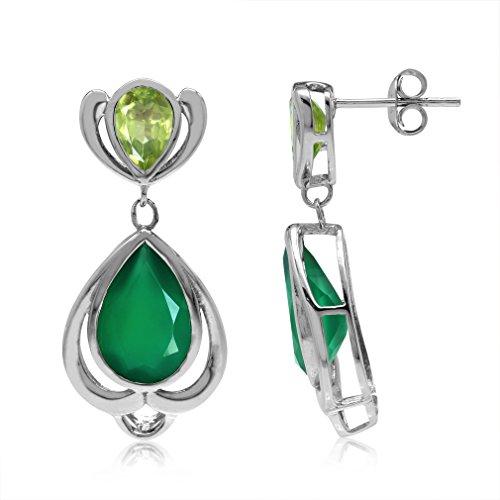 Emerald Cut Peridot Post Earrings - 5.26ct. Natural Emerald Green Agate & Peridot 925 Sterling Silver Drop Dangle Post Earrings