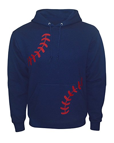 Zone Apparel Men's Baseball Hoodie Sweatshirt – Laces - Large Navy/Red