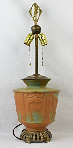 Muncie Pottery 1929 Dancing Nudes Figural Lamp Green Over Pumpkin Haley ()