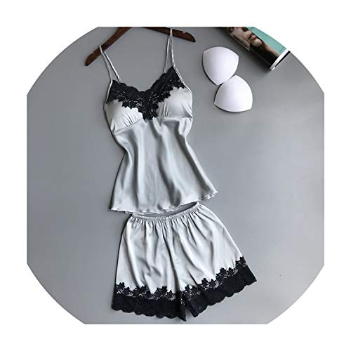 Summer New Ice Silk Sexy Lace Women Pajamas V-Neck with Removable Pad Female Pajama Set,Gray,L