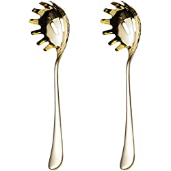 2 Piece Spaghetti Pasta Fork Noodle Serving Spoon Drains Serves Set 9.8-inch Stainless Steel Kitchen Tool Dishwasher Safe (Gold)