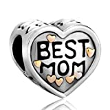 Pugster Heart Best Mom Charms Beads Fit Pandora Chamilia Biagi Charms Bracelet For Mother image