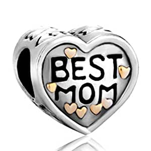 """Silver Plated """"mom Mother"""" Bead Fit Pandora Charms"""