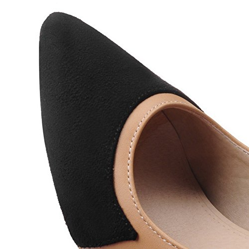 AmoonyFashion Womens Imitated Suede High Heels Pointed Closed Toe Assorted Color Pumps-Shoes Black vFMXD