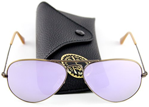 Ray-Ban RB3025 167/4K Sunglasses Bronze-Copper Frame / Lilak Mirror Lens - Ban Ray Aviators With Lenses Pink