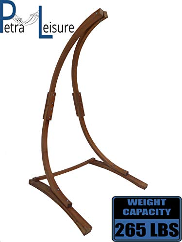 Petra Leisure 7 Ft. Teak Stain Hammock Chair Stand. Perfect for Indoor Outdoor Home, Patio, Deck, Yard, Garden. 265LB Weight Capacity. Stand Only