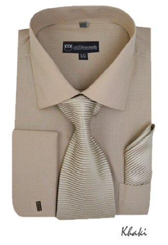 (Milano Moda Solid Dress Shirt with Tie, Hankie & French Cuffs SG27-Khaki-16-16 1/2-34-35)