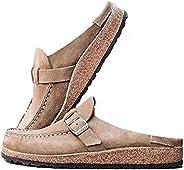 MoneRffi Women's Women Clogs Suede Slip On Sandals Loafer Flat Round Toe Backless Walking Slippers Shoes K