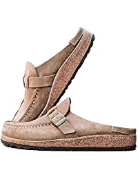 MoneRffi Women's Women Clogs Suede Slip On Sandals Loafer Flat Round Toe Backless Walking Slippers Shoes