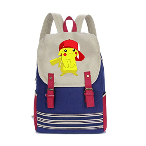 Anime Pokemon Bag Pikachu Canvas Backpack Travel Rucksack Computer Bag Messenger Bag
