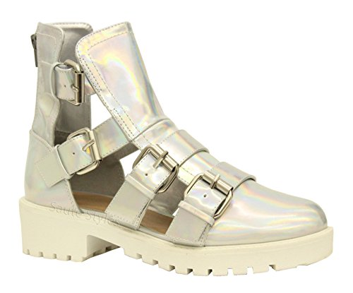 Cut Silver Chunky Gladiator Mid Ladies Boots Ankle Size Heel Punk Shoes Buckles Womens Out Buckle Strappy Hologram wU7AxXq