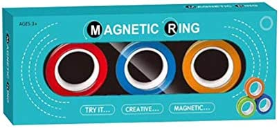 wovter 3PC Magnetic Ring Toy Professional Decompression Toys Magnetic Ring Unzip Bracelet Magic Toy for Friends Gathering Festivals Performance