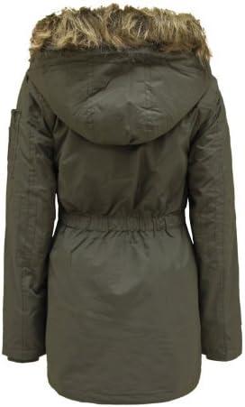 Brave Soul Envy Boutique Girls Kids Fur Hooded Quilted Padded Military Parka Jacket Coat 7-13