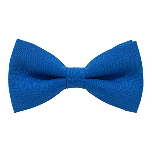 Classic Pre-Tied Bow Tie Formal Solid Tuxedo, by Bow Tie House (Small, Natural Blue)