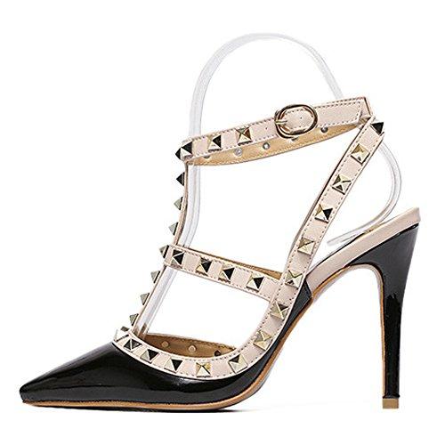 Women's Adora Rivet Studded Pointed-Toe T-Strap Ankle Buckle High Heels Party Pumps NO.237 Black fLI6J