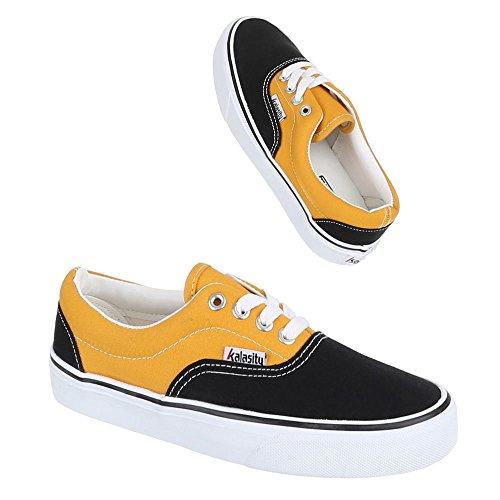 Damen Schuhe, YJ876001-1, Freizeitschuhe Schnürer Sneakers Schwarz Gelb