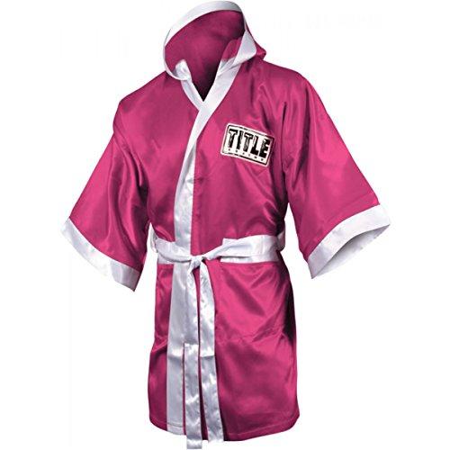 Everlast Robe (TITLE Boxing Full Length Stock Satin Robe, Pink/White,)
