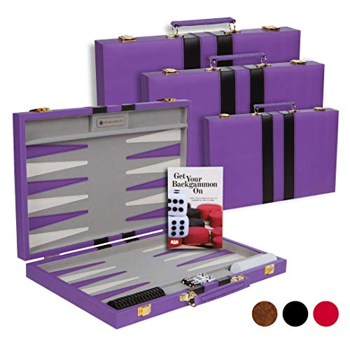 Get The Games Out Top Backgammon Set - Classic Board Game Case - Best Strategy & Tip Guide - Available in Small, Medium and Large Sizes (Purple, Medium) -