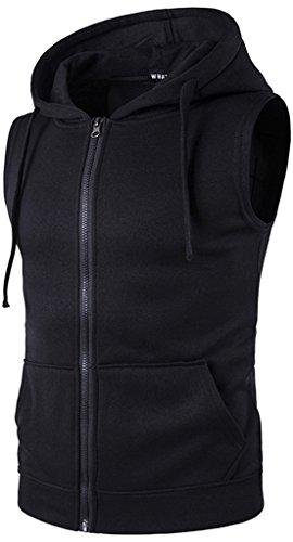 WHATLEES Mens Solid Sleeveless Zip up Fitness Hoodie Shirt Vest Pockets B424-Black-XL by WHATLEES