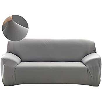 Scorpiuse Stretch Sofa Cover 1 Piece Polyester Spandex Fabric 3 Cushion  Couch Slipcover Grey