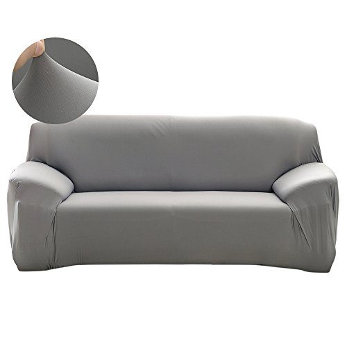 Scorpiuse Stretch Sofa Cover 1-Piece Polyester Spandex Fabric 3 Cushion Couch Slipcover Grey (Slip Covers For Sofa Cushions)