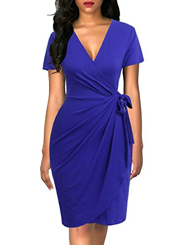 Lyrur Women's Summer Royal Blue Sheath Cocktail Dresses with Short Sleeves Party Dress of Wedding Guest(M, 9069-Royal Blue) (Royal Blue Wedding Guest Dress)