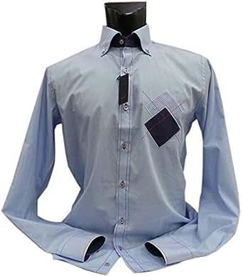 VanGils Blue Shirt Neck Shirts For Men