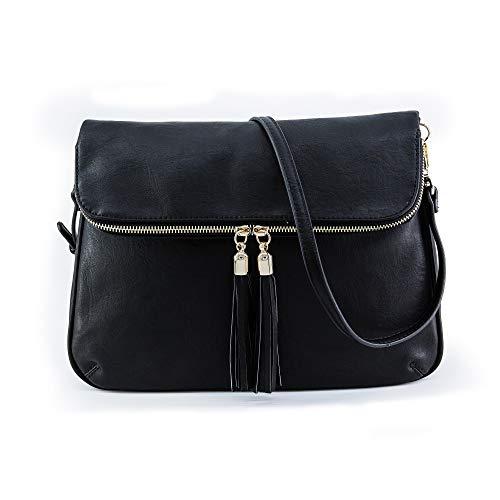 EMPERIA Women's Fold Flap Tassel Zipper Leather Crossbody Bag Purse