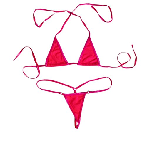 Honanda Women's Sexy Halterneck Top Micro Bikini Charming Bra and G-String Set (Rose Red) -