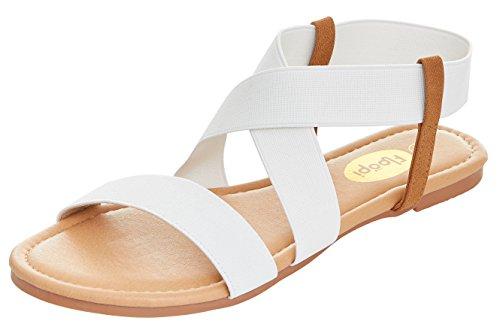 Floopi Womens Summer Flat Sandals Open Toe Elastic Ankle Strap Gladiator Sandal (8, White-501) by Floopi (Image #1)