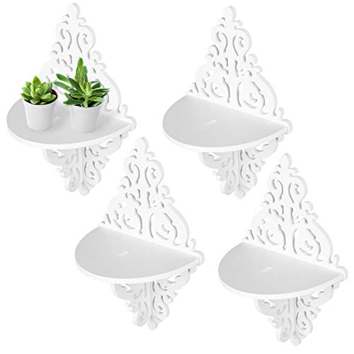 (MyGift Wall Mounted Floating Shelves, Display Stand Rack w/Ornate Scrollwork Design, White, Set of 4)