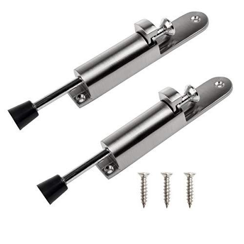(2 Pack Easy-Step Door Stop, CBTONE Stainless Steel Step Door Stopper Spring Loaded Door Stop Adjustable Door Locks Holder Stop/Release by Foot)