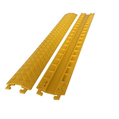 Cable Protector Ramp Cover - Supports 2,000 lbs Single Channel Light Equipment Drop-Over Floor Cable Cord Track Protective Cover Ramps for Outdoor & Indoor Use ()