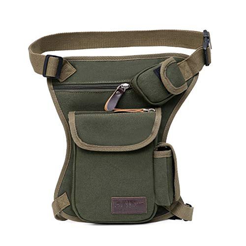 Tactical Hip Bag by Gorilla Gear - Men's Multipurpose Drop Leg Fanny Pack - Motorcycle Pouch - Sturdy Design - Multiple Practical Pockets - Adjustable Waist and Leg Strap - Army Green ()