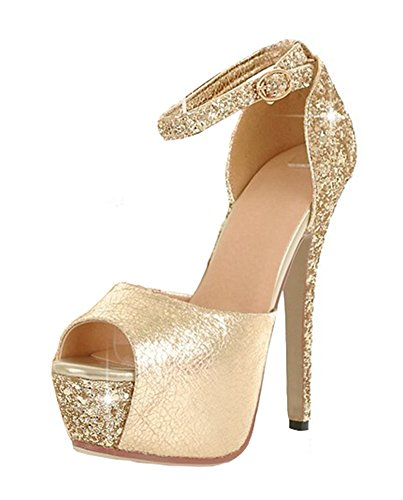 (Aisun Women's Sexy Sequined Peep Toe Platform Buckle Stiletto High Heels Sandals with Ankle Straps Gold 7.5 B(M))