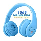 VOTONES Kids Wireless Headphones Boys Girls 85db Hearing Protection Kid Bluetooth Headphones Over Ear,Foldable Stereo Sound Headset Microphone 3.5mm Jack for Smartphone PC Tablet(Blue)