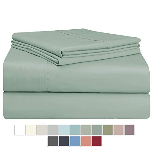 Pizuna 400 Thread Count California King Size Sheets Set Sage, 100% Long Staple Cotton Soft Satin 4pc Bed Sheets Deep Pockets fit Upto 17